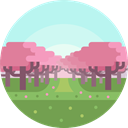 nature, landscape, scenery, Cherry Tree PaleTurquoise icon