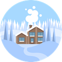 landscape, real estate, scenery, house, Snow, nature, winter LightBlue icon