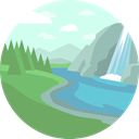 nature, landscape, scenery, waterfall LightCyan icon