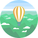 nature, landscape, scenery, hot air balloon MediumSeaGreen icon