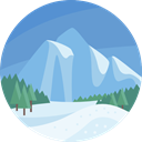 Snow, nature, landscape, mountain, scenery CornflowerBlue icon