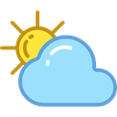 Cloud, weather, Cloudy, Sunny, sky, meteorology, Clouds And Sun LightSkyBlue icon