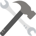 tools, hammer, Wrench, Construction, Home Repair, Improvement, Construction And Tools Black icon