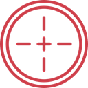 Aim, Target, shooting, sniper, weapons, Seo And Web IndianRed icon