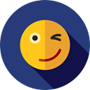 wink, emoticons, Emoji, feelings, Smileys DarkSlateBlue icon