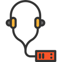 music, Audio, electronics, earphones, Audio Guide Black icon