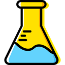 flask, chemical, Test Tube, Flasks, science, education, Chemistry Gold icon