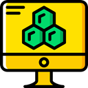 Tv, Computer, monitor, screen, television, technology, electronics Gold icon