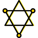 Atoms, Pentagram, science, education Black icon