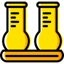 education, Chemistry, flask, chemical, Test Tube, Flasks, science Gold icon