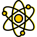 Electron, physics, Atoms, science, Atomic, education, nuclear Black icon