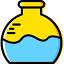 science, education, Chemistry, flask, laboratory, Tools And Utensils Gold icon