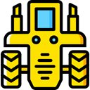transportation, transport, vehicle, tractor, Farming Gold icon