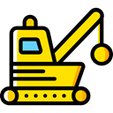 transportation, Construction, Tools And Utensils, Demolish, Demolishing, Heavy Machinery, Heavy Equipment Black icon