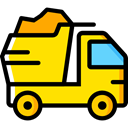 transportation, truck, transport, vehicle, Automobile, dump truck Gold icon