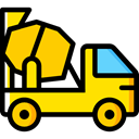 transportation, truck, transport, vehicle, Concrete, Automobile, Concrete Mixer Gold icon