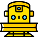 train, rails, travelling, transportation, travel, transport, street Gold icon