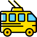 transportation, transport, vehicle, Trolleybus, Automobile, Public transport Gold icon
