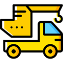 transportation, truck, Trucks, Cranes, transport, mechanic, Crane, garage Gold icon
