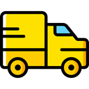 Delivery, transportation, truck, transport, vehicle, Automobile, Delivery Truck, Cargo Truck Gold icon