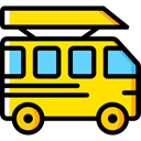 Automobile, Public transport, transportation, transport, vehicle, Bus, school bus Gold icon