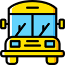 Automobile, Public transport, transportation, transport, vehicle, school bus Gold icon