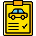 transportation, diagnostic, garage, Car Repair, notepad, Car, repair Gold icon