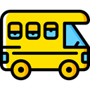summer, Trailer, Caravan, transportation, transport, vehicle, Camping, Holidays Gold icon