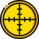 Aim, Target, shooting, sniper, weapons, Seo And Web Gold icon