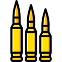 miscellaneous, Bullets, bullet, Ammo, weapons, Munition Black icon