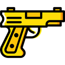 miscellaneous, Gun, Crime, Arm, pistol, weapons Black icon