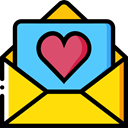 Hearts, romance, romantic, Love Letter, Valentines Day, Love And Romance Gold icon