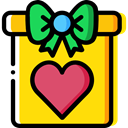 surprise, Love And Romance, shapes, gift, giftbox Gold icon