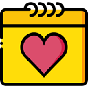 Calendar, Heart, love, romantic, Valentines Day, Love And Romance Gold icon