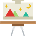 tools, tool, paint, education, Art, Painting, Artistic, Easel, Canvas, Painter, Art And Design Beige icon