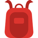 education, travel, Backpack, luggage, baggage, Bags Firebrick icon