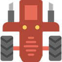 transportation, transport, vehicle, tractor, Farming Sienna icon