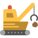 transportation, Construction, Tools And Utensils, Demolish, Demolishing, Heavy Machinery, Heavy Equipment SandyBrown icon
