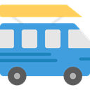 transportation, transport, vehicle, Bus, school bus, Automobile, Public transport CornflowerBlue icon
