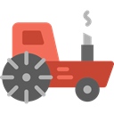 transportation, transport, vehicle, tractor, Farming Black icon