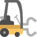 transportation, truck, transport, vehicle, Fork, lift, Forklift, Industrial, Shipping And Delivery Black icon