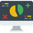 Laptop, monitor, screen, Business, Stats, Analytics, graphic, Seo And Web DarkSlateGray icon