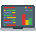 Laptop, monitor, screen, Business, Stats, Analytics, graphic, Seo And Web DimGray icon