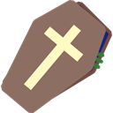 Box, cross, death, halloween, coffin Gray icon