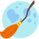 Terror, witch, spooky, scary, Frighten, broom, halloween, horror PaleTurquoise icon