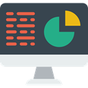 screen, Business, Stats, Analytics, Laptop, monitor, graphic, Seo And Web DarkSlateGray icon