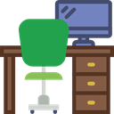 office, table, studio, Chair, desk, furniture, Furniture And Household SeaGreen icon