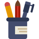 education, writing, pencil case, School Material, Office Material, Edit Tools Black icon
