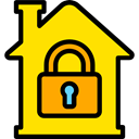 Home, house, Construction, buildings, property, real estate Gold icon
