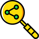 magnifying glass, Business, Stats, Analytics, statistics, Loupe, Bar chart, Profits, Seo And Web Black icon